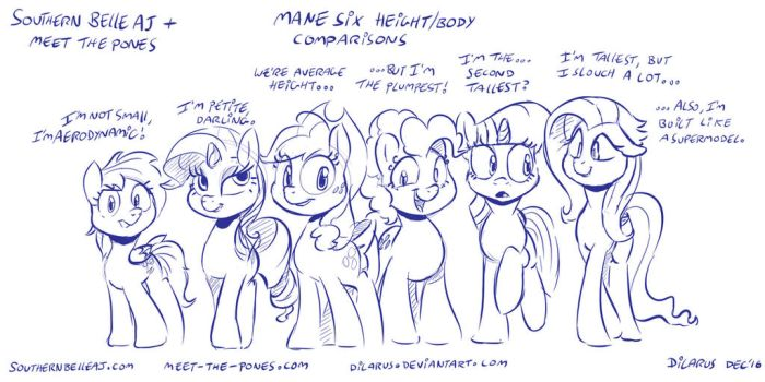 Mane Six - Height comaprisons by Dilarus