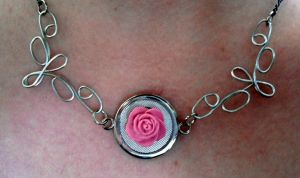 Wire butterflies And clay Rose Necklace by RaheHeul