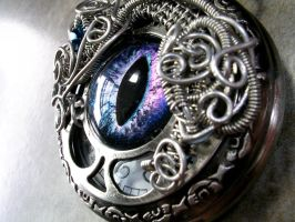 Wire Wrap - Custom Pocket Watch Eye Time Piece 2 by LadyPirotessa