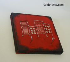 Red Black Wire City Buildings by ArtbySaide