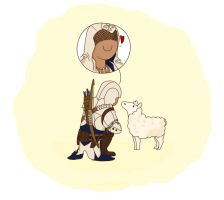 Connor and the sheep by marylilpuffin