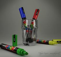 glass and pens by ifilgood