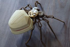 Steampunk Victorian Spider Ring Box Sculpture by CatherinetteRings