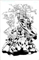 Avengers pinup inks by giberwitz