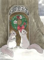Christmas Card 1, Squirrels by luve
