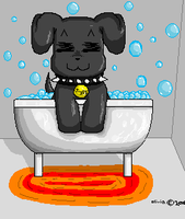 Chibi Doggie in bubble bath by Whispering-forests
