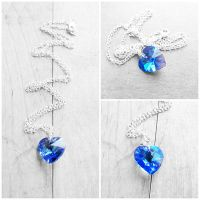 Swarovski Sapphire AB Heart Crystal Necklace by crystaland