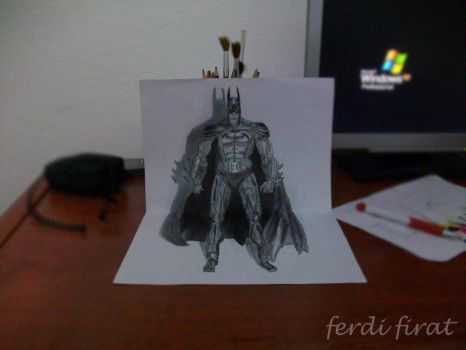 3D Drawing Art - Batman by vexilloid