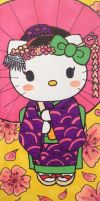 Hello Kitty geisha bookmark by silverwatermist