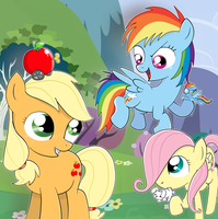 Request: Applejack Rainbow Dash And Fluttershy!! by pian-no
