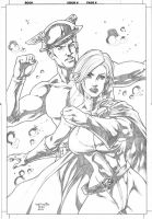 Flash and Power Girl by WellingtonDiaz