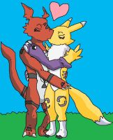 Renamon X Guilmon by SuperSaiyanCrash
