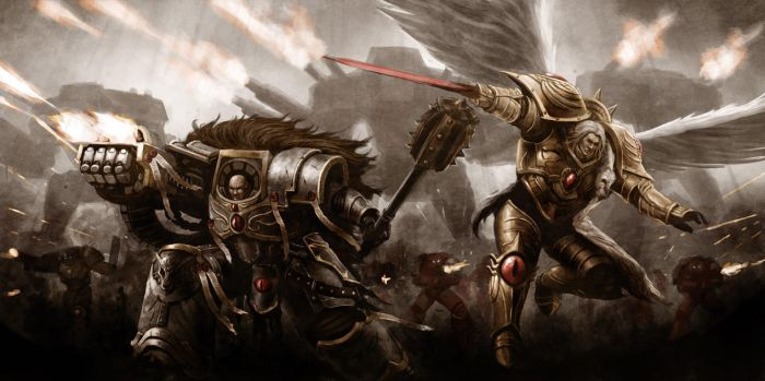 Horus and Sanguinius by Lutherniel