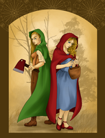 Little red (and green) riding hood by MioRose