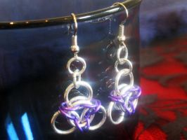 Purple Chainmaille Earrings by Lassarina-Jewelry