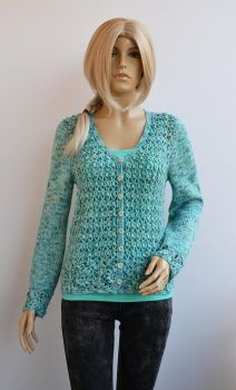 Crochet and knitted  blue sweater by dosiak