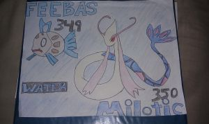 Feebas And Milotic by Credfield23