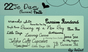 22 Te Dum {Cursive} Fonts by IsDa11