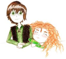 Merida and Hiccup by hello-noble