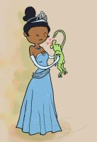 Tiana and Frog by Shadowtangent