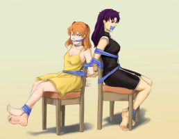 Asuka e Misato tied to chair by MrAlex990