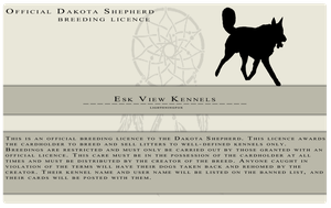 My Dakota Shepherd Breeding Licence by lighteningfox