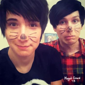 Drawing of Daniel Howell and Phil Lester by Momo-Ninja