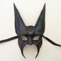 Black Jackal or Bat Leather Mask half face Anubis by teonova