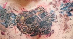Masquerade Chest Tattoo done by Sean Ambrose at Ar by seanspoison