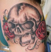 colored skull and roses tattoo by Jonny-Mistfit
