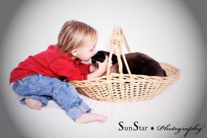 Toddler and Cat by SunStar1111