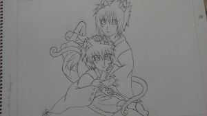 SasuNaru- kitty shrine maidens / line art by XxYaoiIsMyDrugxX