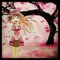 Underneath the cherry blossoms by derpykittykat