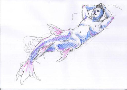 merman reclining by chrispykreme