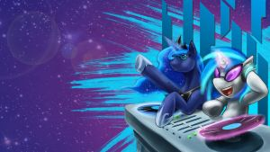 In spaaaAAAAAAAACEEEEEEEE with Luna and Vinyl! by RikiTheSuperZeldaFan