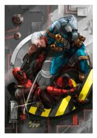 Deadpool vs Cable - Collab by GreyRadian