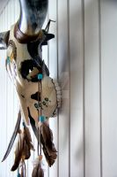 Painted Longhorn Skull by basseca