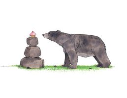 Bear and Cupcake by morganobrienart