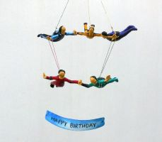 Skydivers parachuting sculpture by aakritiarts