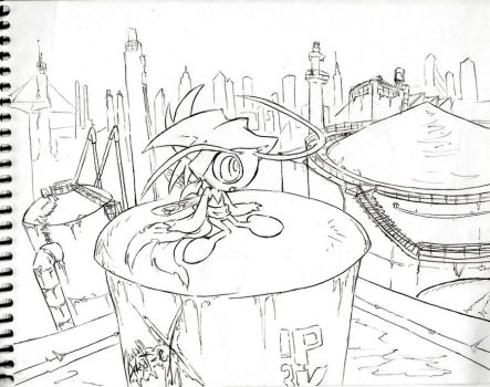 Sketch: Celebi in the Industry by Adept-eX