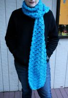 Blue  Shell Stitch Scarf by DarkRaven17