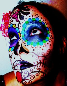 Dia de los Muertos make-up by GrimMercy