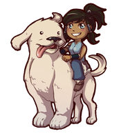 Korra and Naga chibi by MousyM