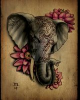 Elephant tattoo by Ogra-the-Gob