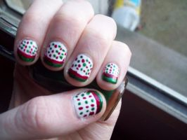 Polka Dot Christmas Nails by ffishy21