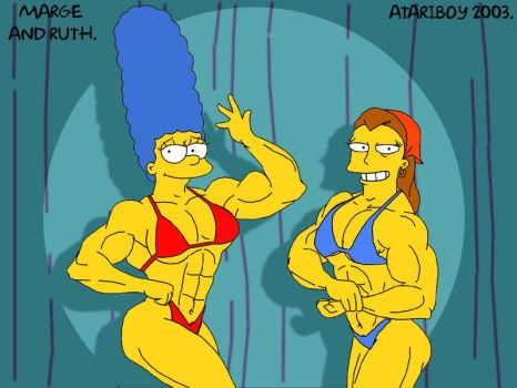 Marge And Ruth Muscle Posing. by Atariboy2600