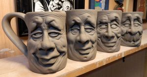 More Face Mugs on the shelf pt 2-WIP by thebigduluth