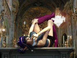 Sexy Fantasy Devil Vamp Elfen in Baroque Church 01 by Evinessa