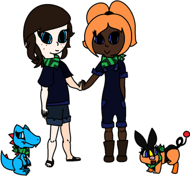 Ire/Ireland and Kate, Human and Pokemon Forms by Halo-The-Eevee