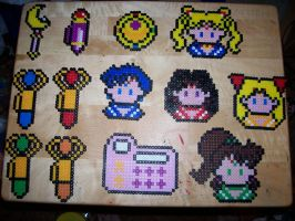 Sailor Moon stuff perler by HeiKurashi